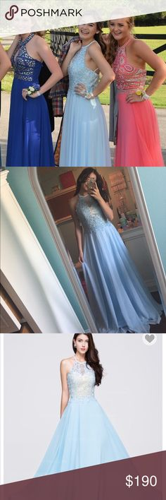 Light Blue Prom Dress! A beautiful A-Line/Princess Spaghetti Strap light blue prom dress. It has beautiful jewels on the front with an open back. Only worn once at my prom last year and is in perfect condition! Dresses Prom