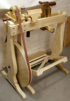 "Human Power:  The lathe is made from 1 3/4"" Poplar with a hard maple tool rest and Bubinga handles."