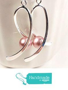 Breast cancer awareness earrings. Swarovski pearls. Silver ribbon earrings. from Puppy Love Miniature http://www.amazon.com/dp/B017QT50EI/ref=hnd_sw_r_pi_dp_nuxLwb14E83MH #handmadeatamazon