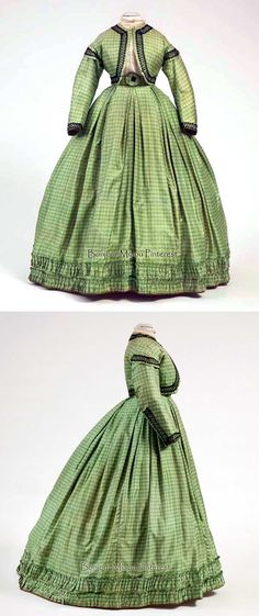Day gown ca. 1862-64. Three pieces (bolero, belt, & skirt). Green checkered silk trimmed with black lace. Photo: Ernst Moritz. Centraal Museum and Centraal Museum via Europeana Fashion