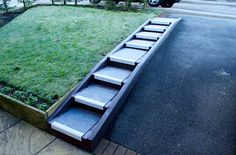 """""""Anti-slip Stair Treads steps fixed to lumber built on a steep drive. The steps became slippery in frost (as at the time of the photo) but the Safe Tread product removed this hazard."""" B Skinner. Exterior Stairs, Interior And Exterior, Driveway Landscaping, Aging In Place, Garden Landscape Design, Stair Treads, Stairways, Countryside, Frost"""