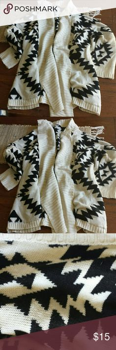Aztec Sweater - New never Worn  Aztec pattern black and cream , hits mid thigh , soft cotton material not to thin and not to thick, open front , purchased at boutique in Vermont Sweaters Cardigans