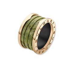 Rose gold and green marble (!) ring. Bulgari. Love. It.
