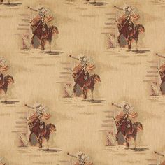 Rodeo Burgundy and Gold Horse and Cowboy Country Theme Tapestry Upholstery Fabric