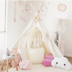 """The cutest little teepee + accessories! Love the cloud pillow!! By @liss730 #interiors #interiordesign #babygirl #babybliss #storybookbliss #inspiration…"""