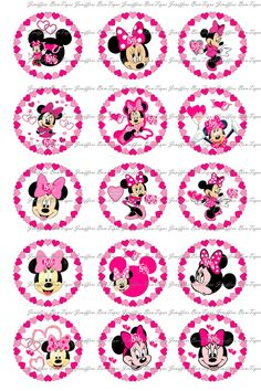 Minnie Mouse Valentines Day - Bottle Cap Images -  1 Inch Circles for Bottlecaps, Hair Bow Centers, & More. $1.00, via Etsy.