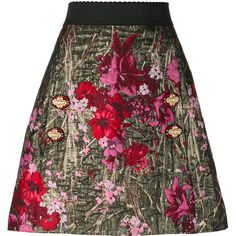 Dolce & Gabbana floral jacquard A-line skirt (€1.435) ❤ liked on Polyvore featuring skirts, metallic a line skirt, flower print skirt, floral a line skirt, elastic waist a line skirt and patterned skirts