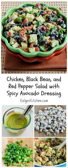 Recipe for Chicken, Black Bean, and Red Pepper Salad with Spicy Avocado Dressing Low Carb Recipes, Diet Recipes, Chicken Recipes, Cooking Recipes, Healthy Recipes, Alkaline Recipes, Alkaline Diet, Recipies, Healthy Salads