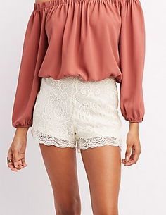 White Scalloped Lace Shorts by Charlotte Russe Lace Shorts, White Shorts, Dressed To Kill, Scalloped Lace, Charlotte Russe, Perfect Fit, Cute Outfits, My Style, Casual