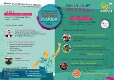 "Sobat muda, masih ingat kan dengan Sumpah Pemuda?  Yap! Momen dimana para pemuda Indonesia berjanji untuk menjadi pemuda yang memajukan kehidupan bangsa.  Masih berkobarkah semangat itu saat ini?!  Dalam rangka memperingati Hari Sumpah Pemuda, Remaja Islam Sunda Kelapa (RISKA) mempersembahkan rangkaian acara menarik untuk kita para generasi muda!   ""SEMANGAT SUMPAH PEMUDA v.2.0""  - We Unite, We Conquer! -"