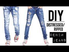 ▶ HOW TO: DISTRESSED DENIM JEANS (EASY) | DIY TUTORIAL | JAIRWOO - YouTube