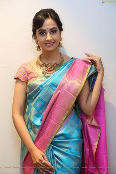 Beautiful Girl Indian, Most Beautiful Indian Actress, Beautiful Ladies, Blue Silk Saree, Silk Sarees, Indian Actress Hot Pics, Indian Actresses, Indian Beauty Saree, Saree Styles