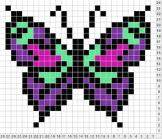I love this simple butterfly perler pattern. Pixel Art Papillon, Hama Beads Patterns, Beading Patterns, Cross Stitch Patterns, Cross Stitch Designs, Butterfly Cross Stitch, Butterfly Pattern, Pixel Crochet, Pixel Pattern
