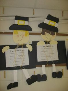 Adorable Pilgrims and Indians for Thanksgiving Thanksgiving Writing, Thanksgiving Projects, Thanksgiving Preschool, Classroom Crafts, Classroom Fun, Preschool Crafts, Future Classroom, School Holidays, School Fun