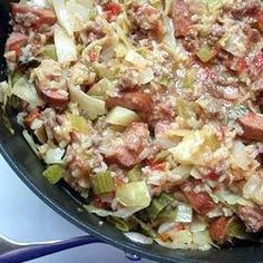 """Cabbage Jambalaya   """"This is an EASY recipe. My son hates cabbage but will eat this like crazy."""""""