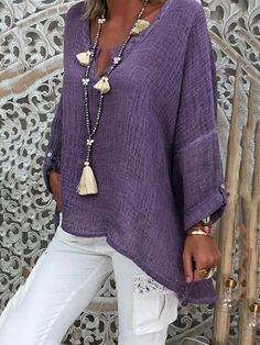 Women Casual Solid Casual Long Sleeve V Neck Blouse - Damen Mode 2019 Look Fashion, Unique Fashion, Fashion Models, Fashion Design, Ladies Fashion, Fashion Styles, Mode Outfits, Fashion Outfits, Bluse Outfit