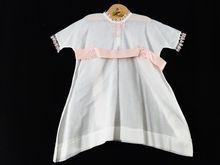 Vintage Lawn Cotton Little Girls Dress Pink Satin Bow Wedding Flower Girl White