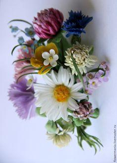 """Купить """"БУКЕТ НИМФЫ"""".Шелк - разноцветный, нимфа, полевые цветы, брошь, бутоньерка, романтический стиль"""