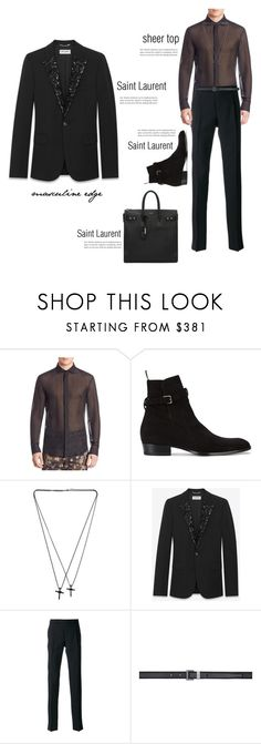 """""""Masculine Edge, Saint Laurent & sheer top"""" by beautymanifesting ❤ liked on Polyvore featuring Versace, Yves Saint Laurent, Dsquared2, men's fashion and menswear"""