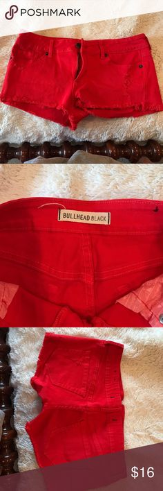 Red BULLHEAD distressed jean shorts Stretchy jean material red BULLHEAD shorts from PacSun! Bullhead Shorts Jean Shorts