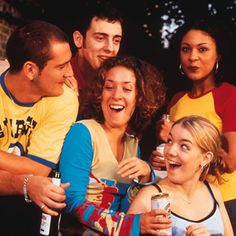 Two Pints Of Lager And A Packet Of Crisps. Image shows from L to R: Gaz (Will Mellor), Jonny (Ralf Little), Donna (Natalie Casey), Janet (Sh...