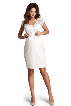 Unique Moments Nude Maternity Dress, accessorized with tied waistband, short sleeves, back zipper fastening, inside lining, laced fabric, slightly elastic fabric