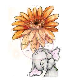 Wild Rose Studio`s - Stempel-Set Bella mit Dahlia Stamp Set Bella with Dahlia - Elephant Love, Elephant Art, Dahlia, Cute Illustration, Art Studios, Cute Drawings, Nursery Art, Rock Art, Cute Art