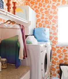 Pink And White Strikes Laundry Room Pink Laundry Rooms