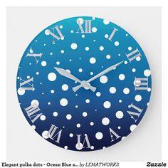 Elegant polka dots - Ocean Blue and White Large Clock