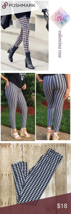 "Houndstooth leggings Fall staple for any closet! So versatile, you can dress them up or down. These are fabulous because they don't fade because they are not cheap cotton! (Poly/spandex) blend makes them buttery soft and stretchy. These are one size fits most so a 4-12 would fit comfortable. Waist not stretched at all is 24"" (elastic waistband) and the length is 27"". **listing as a medium since OS is not an option Pants Leggings"