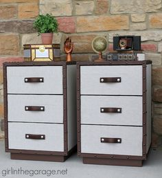 Two nightstands are transformed into Pottery Barn inspired DIY trunk bedside tables for Themed Furniture Makeover Day.  girlinthegarage.net