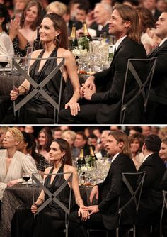Angelina Jolie and Brad Pitt at the SAG Awards - January 29th, 2012 << love the way they hold their hands together <3