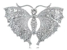 Queen Wing Span Clear Crystal Rhinestone Skirt Moth Butterfly Insect Pin Brooch Alilang. $6.99. Save 22%!