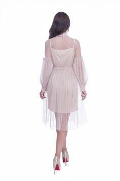 Rochie de ocazie dantela roz prafuit din tul cu broderie dantela   MyFashionizer Skirts, Fashion, Embroidery, Moda, Fashion Styles, Skirt, Fashion Illustrations, Gowns