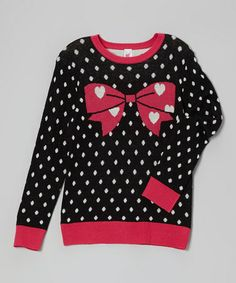 Another great find on #zulily! Black & Pink Polka Dot Bow Sweater #zulilyfinds
