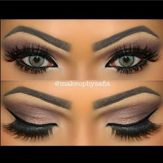 Eyebrows are a little harsh, but the eye makeup is gorgeous - Make up - [post_tags Makeup Goals, Makeup Inspo, Makeup Inspiration, Makeup Tips, Makeup Ideas, Kiss Makeup, Cute Makeup, Gorgeous Makeup, Hair Makeup