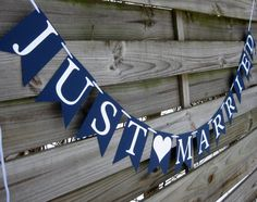 Just Married Wedding Banner in Navy Blue and White. Cute idea for the head table?