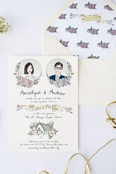 Love this illustrated wedding invite.