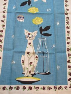 Feeling blue. Vtg Prints Charming linen kitchen towel / cat milk bottle saucer / MWT / unused by fuzzandfu, $38.00