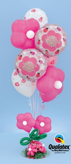 """This """"Charming Bugs 'n' Blooms"""" bouquet features unique GEO Blossom latex #balloons and fun ladybug designs. What mom wouldn't want to get this on #MothersDay?"""