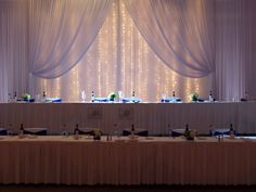Nicpon Productions is a Chicago Wedding DJ, event lighting and décor company that specializes in elegant, contemporary wedding and social events. Head Table Backdrop, Fabric Backdrop, Fabric Decor, Dj Packages, Backdrops, Home Decor, Decoration Home, Room Decor, Backgrounds
