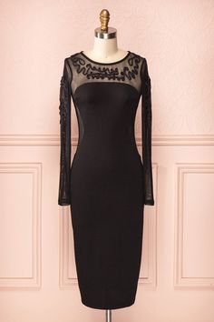 Senja - Long black tight-fitted bustier dress with mesh neckline and sleeves