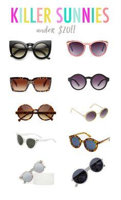Killer sunnies (all under $20!!) Click through for shopping links.