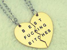 2 Parts Pendant BEST FUCKING BITCHES Best Friends Partners Friendship Chain Necklace