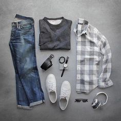 Outfit grid - Grey checks & jeans