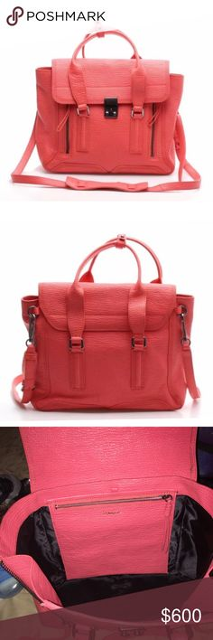 3.1 Phillip Lim Pashli Medium Pre owned. Medium, red/orange color. Only flaw are the scuffs around the opening/closing clasp. Only trades are for Louis Vuitton Speedy 35 in Brown. 3.1 Phillip Lim Bags