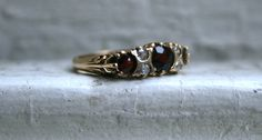Stunning Vintage Yellow Gold Diamond and Garnet by GoldAdore Garnet Wedding, Vintage Diamond, Vintage Engagement Rings, Etsy Store, Wedding Bands, Hand Carved, Carving, Yellow, Gold