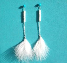 White Feather Earrings, $18.00