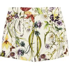 Gucci Floral-print linen shorts ($365) ❤ liked on Polyvore featuring shorts, bottoms, pants, skirts, multi colored shorts, floral shorts, gucci shorts, colorful shorts and floral printed shorts