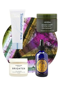 Crystal INFUSION TOURMALINE DHC Tourmaline Pack, // Aveda Tourmaline Charged Hydrating Creme, // Poppy and Someday Marfa Moon Mist,// Herbivore Botanicals Brighten White Clay Mask,
